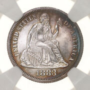 1883 Seated Liberty 10c Ngc Certified Ms65 Us Mint State Graded Silver Dime Coin