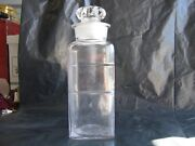 Vtg Apothecary Jar Ground Glass Lid Dakota Pat March 6 1894 F And S St. Louis Mo