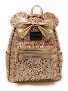 Disney And Loungefly Minnie Mouse Rose Gold Sequined Mini Backpack Factory Sealed