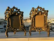 Stunning Antique Pair Of Picture Frames Bronze Gothic Medieval Knight Dragon