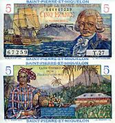 St. Pierre 5 Francs Banknote World Paper Money Aunc Currency Pick P22 1950+ Bill