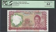 Tanzania 100 Shilling Nd1966 P5as Specimen Perforated Uncirculated