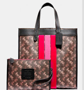 🌺🌹coach Field Tote With Horse And Carriage Print And Varsity Stripe Pewter