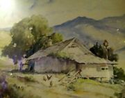 Davis Francis Schwartz Watercolor Ranch Home Mountain 2 Chickens And A Rooster
