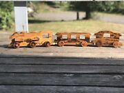 Large Vintage Wood Train - Maker Unknown Homemade - Signed Henry Very Nice