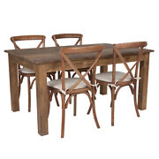 60 X 38and039and039 Antique Rustic Farm Table Set With 4 Cross Back Chairs And Cushions