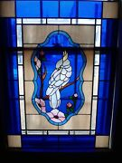 Vintage Leaded Stained Glass Window Cockatoo Bird Flowers Cobalt Blue 29x39