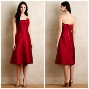 Erin-- Erin Fetherston Red Strapless Ruscha Dress. Size 6. Nice Free Ship