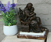 Antique French Spelter Bronze Madonna Child Marble Base Statue Religious