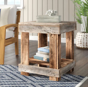 Solid Wood Rustic End Side Table Sofa Furniture Living Room Antique Stand Shelf-