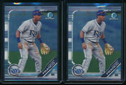 Lot Of 2 Wander Franco 2019 Bowman Chrome Draft Tampa Bay Rays Rookie Card Rc