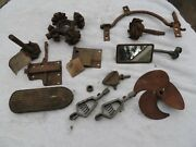 Lot Of Old Vintage Car Parts, Gears, Starter Pedal Mirror Latch, Pedal, Champs.