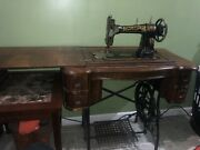 Antique White Family Rotary Treadle Sewing Machine In Cabinet -1909 Pick Up Only