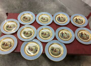 Set Of 12 Imperial Royal Crown Farm Scenes Gold And Blue Rim 10 Plates