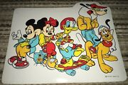 """Vintage Fun 16"""" X 13"""" Mickey Mouse Placemat By Decor Minnie Disney Skateboard"""
