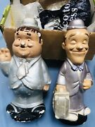 Laurel And Hardy Stan Loren Oliver Statues Vintage High About 11 13/16in