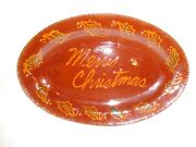 Ned Foltz Redware Pottery Merry Christmas Platter, 1988, Signed