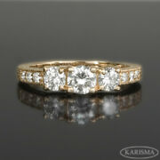 1 Ct 3 Stones Diamond Ring Vs2 14k Rose Gold Red Channel Setting Accents Women