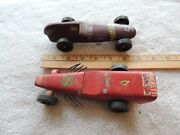 Lot Of Vintage Antique Soap Box Derby Red And Brown Toy Racing Cars