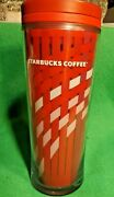 2009 Starbucks Coffee Plastic Tumbler Red Pink And White Wave 16 Oz Christmas