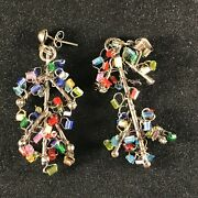 Vintage Handmade Abstract Christmas Tree Glass Beads And Twisted Wire Earrings