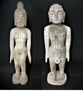 Rare 19th Century Carved Wood And Painted Plaster Chinese Acupuncture Couple