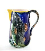Antique Majolica Earthenware Cobalt Blue Pitcher With Relief Fish Decoration
