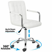 White Desk Chairs W/ Wheels/armrests Leather Office Chair Executive Chair 360anddeg