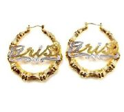 14k Gold Overlay Personalized Name Bamboo Hoop Earrings 2 Inches Twotone