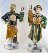 Late 19th Century Chinese Qing Man And Woman Large Porcelain Statues