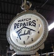 Antique 2-sided Kimball Watch Repairs Trade Sign.cast Iron Frame.tin Watch Faces