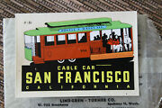 Original Vintage San Francisco Travel Decal Cable Car Trolley Auto Luggage Old