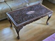Antique Vintage Coffee Table Anglo Indian Hand Carved Wood Table Oriental