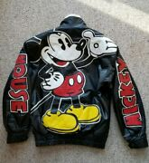 Rare 90s Mickey Mouse Black Leather Bomber Jacket Spell Out Full Back Disney S/m