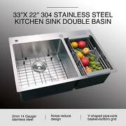 33 X 22 X 9 304 Stainless Steel Top Mount Kitchen Sink W/ Tray Drain Set 14g