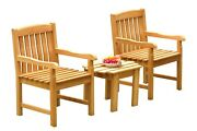 Dsdv A-grade Teak 3pc Dining Set Adirondack Side Table 2 Arm Chairs Outdoor