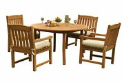 Dsdv A-grade Teak 5pc Dining Set 52 Round Table 4 Arm Chairs Outdoor Patio