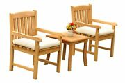 Dsdv A-grade Teak 3pc Dining Set Giva Side Table 2 Arm Chairs Outdoor Patio