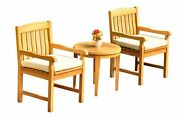 Dsdv A-grade Teak 3pc Dining Set Noida Round Side Table 2 Arm Chairs Outdoor
