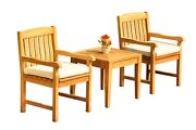 Dsdv A-grade Teak 3pc Dining Set Noida Square Side Table 2 Arm Chairs Outdoor