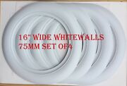 16 Wheel Whitewalls Wide Style 75mm 3 Inch 4pc Hot Rod Rat Rod Ford Chevy Mopar