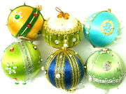 Vintage Lot Of 6 Handmade Beaded Christmas Ornaments 1960's Satin Faux Pearls