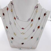925 Solid Sterling Silver 7 Pieces Natural Multi Cut Stone Necklaces M-726