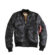 Alpha Industries Black Camoflauge Bomber Jacket Small End Clothing Authentic