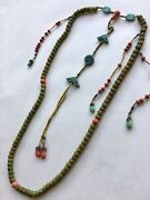 19th Cent Chinese Miniature Court Necklace In Scented Clay Beads