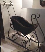Vintage Wicker And Metal Decorative Sleigh Christmas Wicker Lined Sleigh