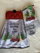 Christmas Oven Door Towel Holiday Gift Set Classic Chevy Red Mitt Saying Snowm