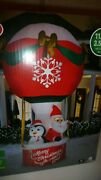 11.5ft Christmas Inflatable Hot Air Balloon W/santa And Penguin Pal Brand New