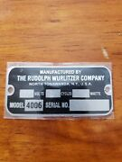 Reproduction Tag For A Wurlitzer Jukebox Type 4006 Wall Speaker