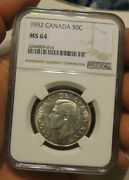Canada - 1952 Silver 50 Cents Ngc Ms 64